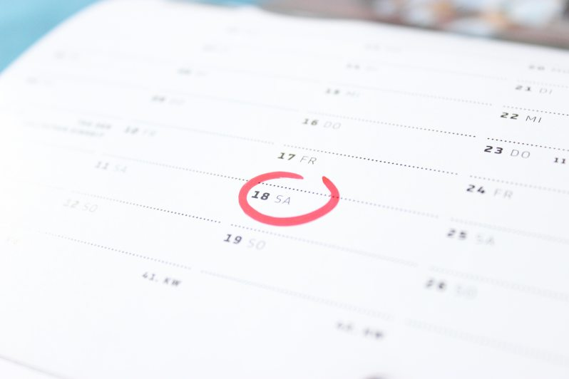 Calendar with red circle around the date