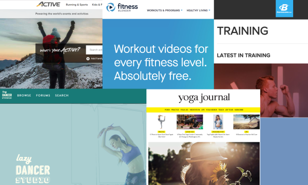 snapshots of various fitness web pages