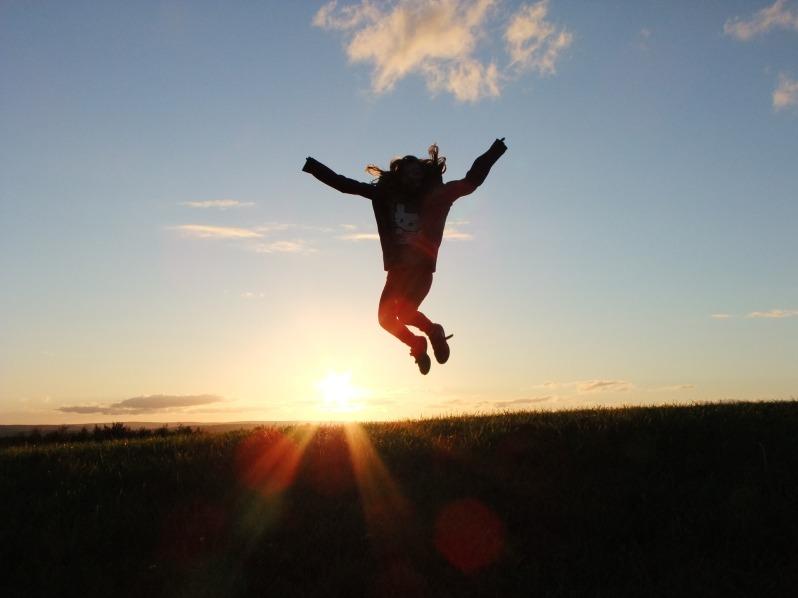 Win sunset jump weight loss fitness success